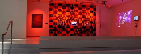 "Angela Washko's ""The Game: The Game"" installed at the Museum of the Moving Image"
