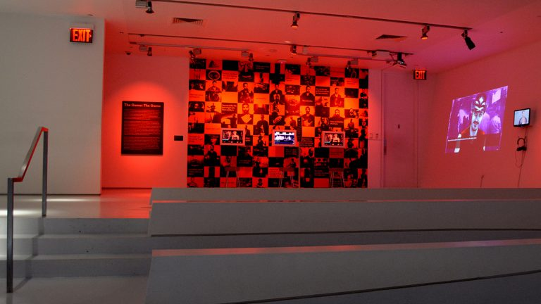 """Angela Washko's """"The Game: The Game"""" installed at the Museum of the Moving Image"""