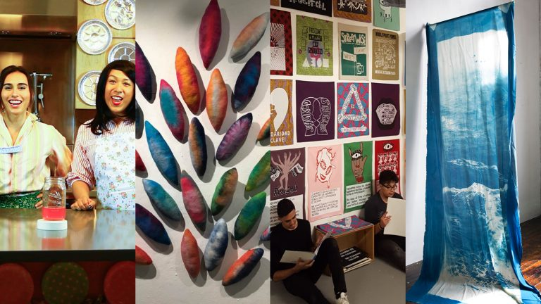 Four images of artworks: 1 - two people smiling and standing at a counter; 2 - several abstract, colorful oval shapes mounted to a wall; 3 - two people sitting in front of a wall covered in fabric banners; 4 - large banner with ocean printed on it.