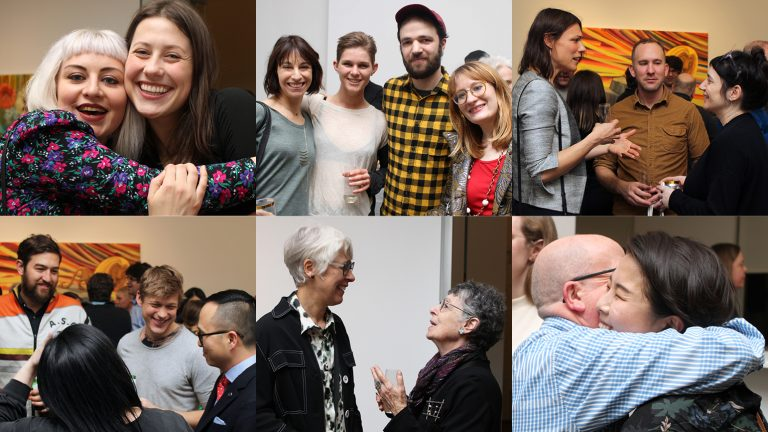 Six images showing groups of people posing and talking at an art gallery