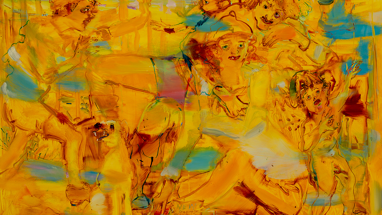 Painting by Angela Dufresne featuring loosely sketched human figures moving across the canvas against a yellow background with brush strokes of blue.