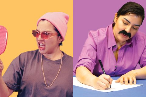 Two images of artist Nathalie Moreno dressed as Latino characters. In the first image, she is looking into a hand-held mirror with a grimace. The second image is her with a mustache writing at a table.
