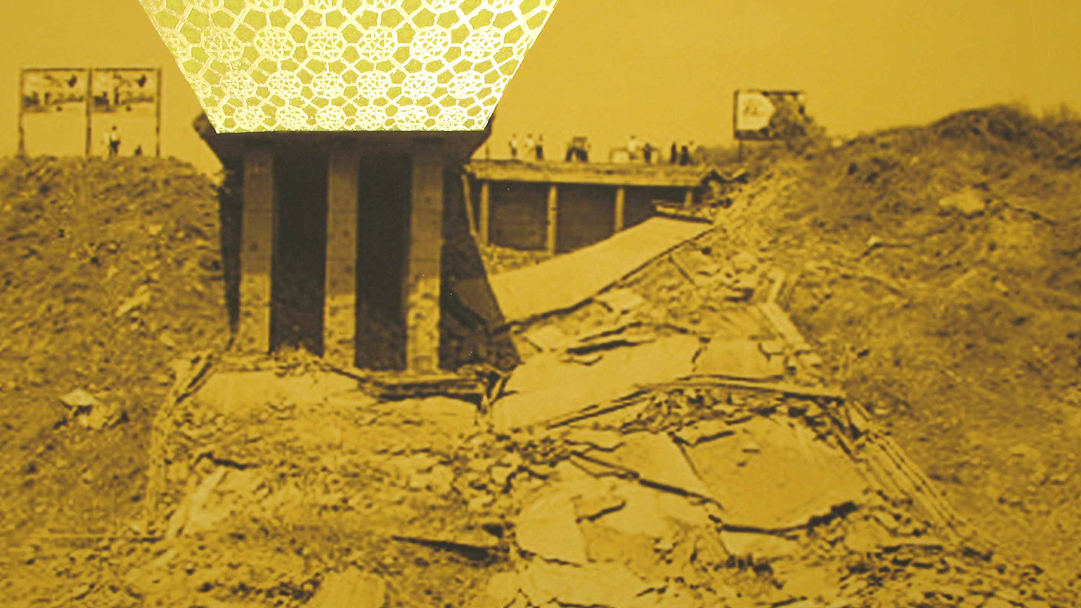 A photograph in yellow and brown tones showing a collapsed bridge. Above the bridge a pattern appears in a truncated upside down pyramid