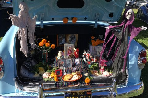 Photograph of an open truck of a car filled with photographs, flowers, two large skeletons, and other objects arranged neatly