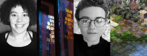 "Four images: two black and white portraits, one image showing window panes with ""There are Black People in the Future"" written on them, and the last image showing a digital landscape."