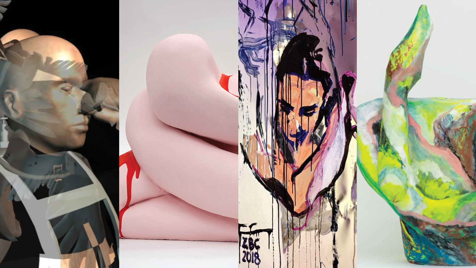 Four image: 1 - Digital image of a man in gold, white, and black, 2 - pink sculpture abstract sculpture with drips of red, 3- painting of a woman 4- abstract sculpture in green, pink, blue, and other colors