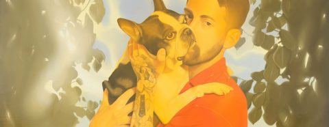 Painting of a man with tattooed arm holding a Boston Terrier