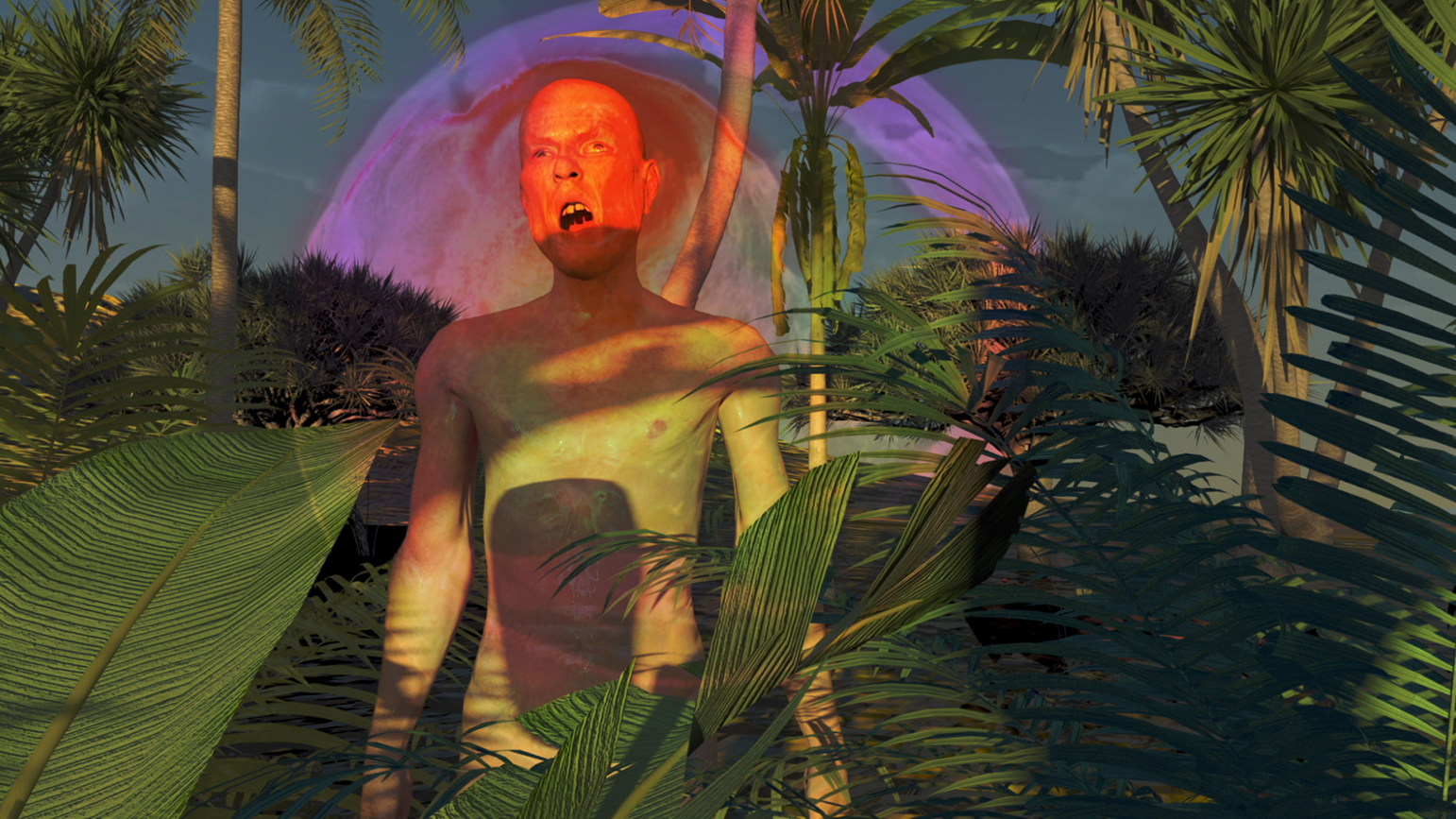 Digitally created image of a figure standing in a jungle with his mouth open at sunset or sunrise