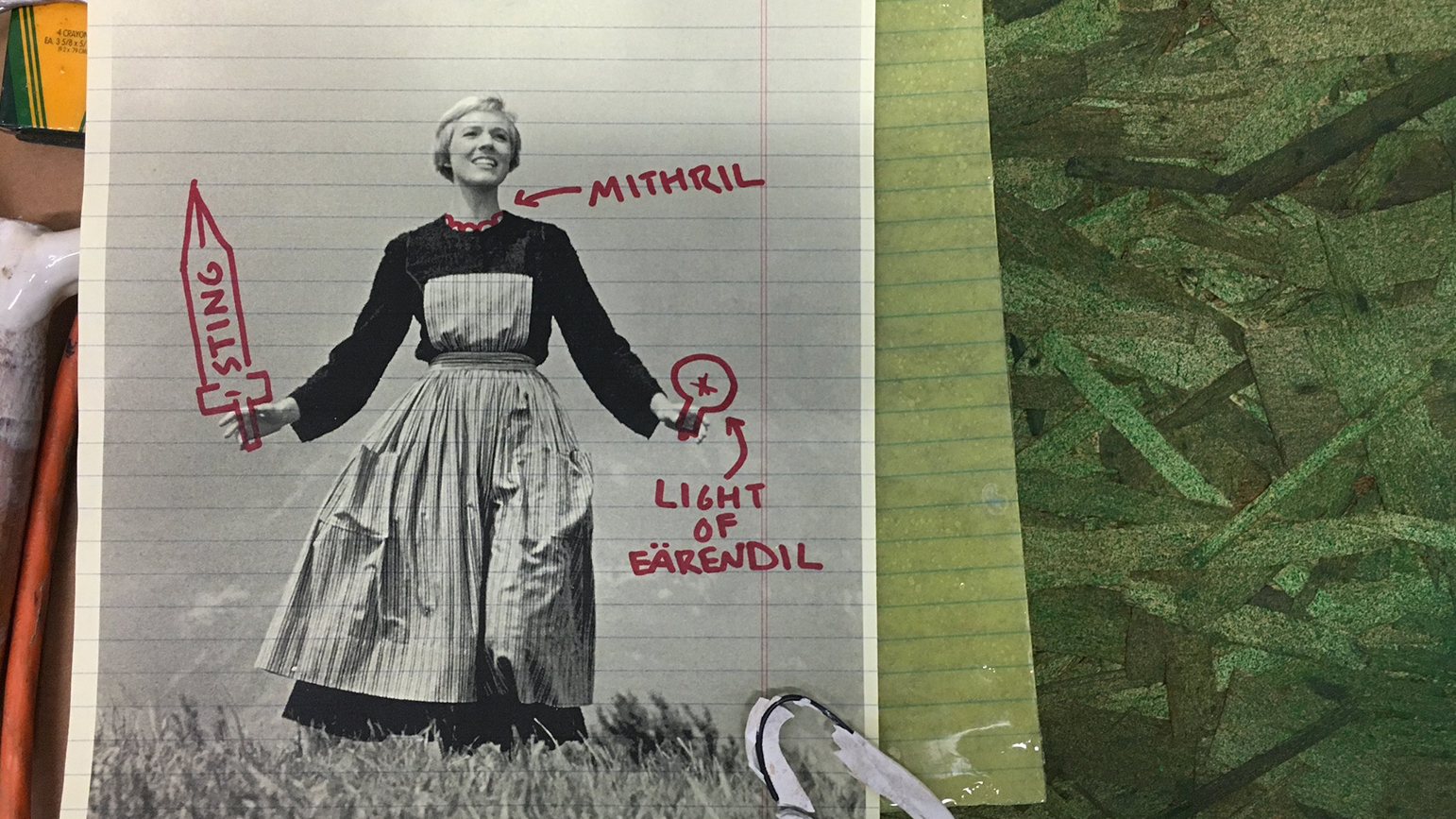 "Image of Julie Andrews in Sound of Music with text of ""mithril"" ""sting"" and ""light of earendil"" written in red marker over it"