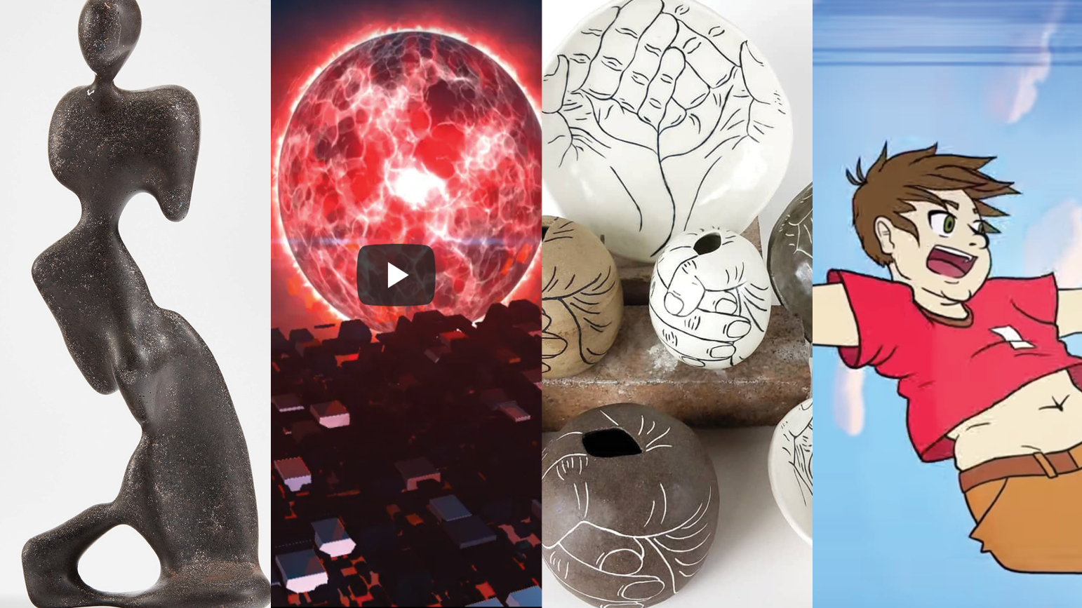 Four images: 1: image of an abstract sculpture of a human form; 2: still from music video showing big red sun; 3: images of ceramics items with hand decoration; still from video showing a falling anime character