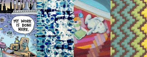 "4 images: 1: cartoon with figure in boat marked Pruitt wearing a gas mask with speech bubble saying ""My work is done here""; 2: abstract painting in blues and white; 3: painting of stuffed animal and tea set on the floor; 4: abstract geometric work in yellow, blue, green and brown"