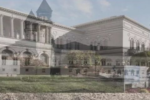 Photographs of the Carnegie Library of Pittsburgh superimposed on one another
