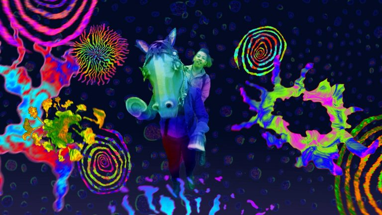 Image of a person riding a cartoon horse against a psychedelic background