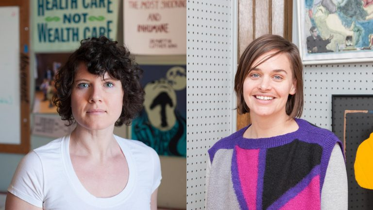 Two photographic portraits; one of Ruthie Stringer and the other of Dana Bishop-Root
