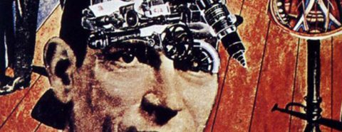Collaged image of a man with mechanical equipment on his head