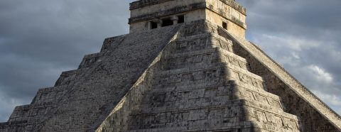 Photograph of a stepped pyramid in Chichen