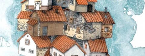 Detail of an artwork showing traditional cottage houses stacked on top one another