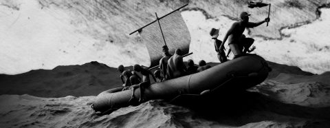 Hand drawn and digitally created image of people on a raft in turbulent weather