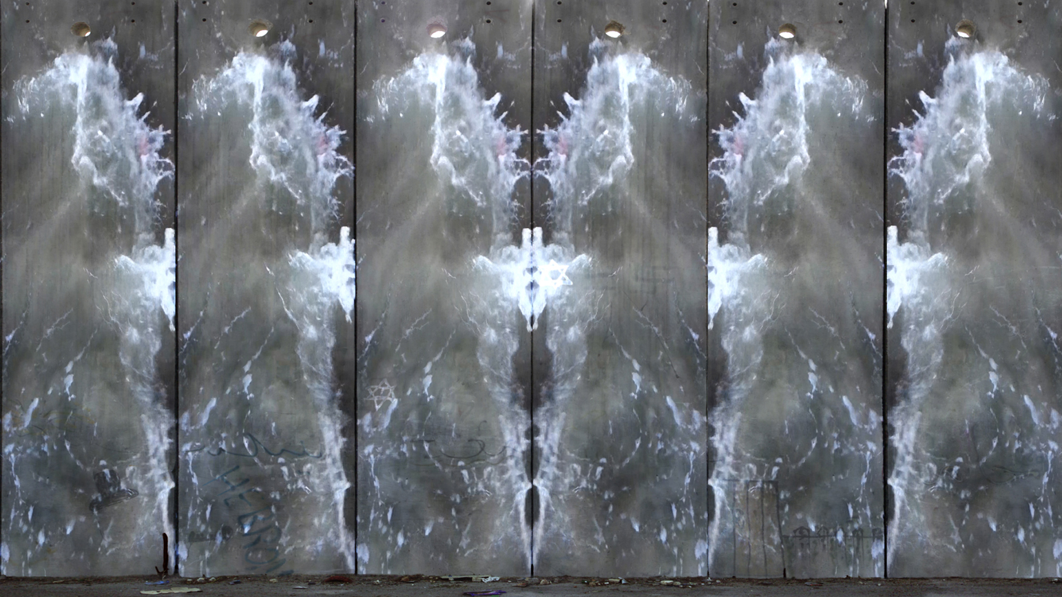 "Still of video ""Quench"" showing a split screen with waves on concrete"