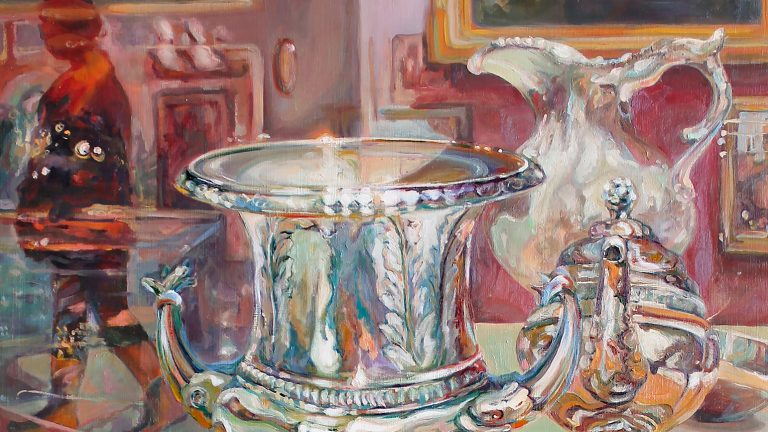 Painting of silver vessels reflecting many colors in a shop window