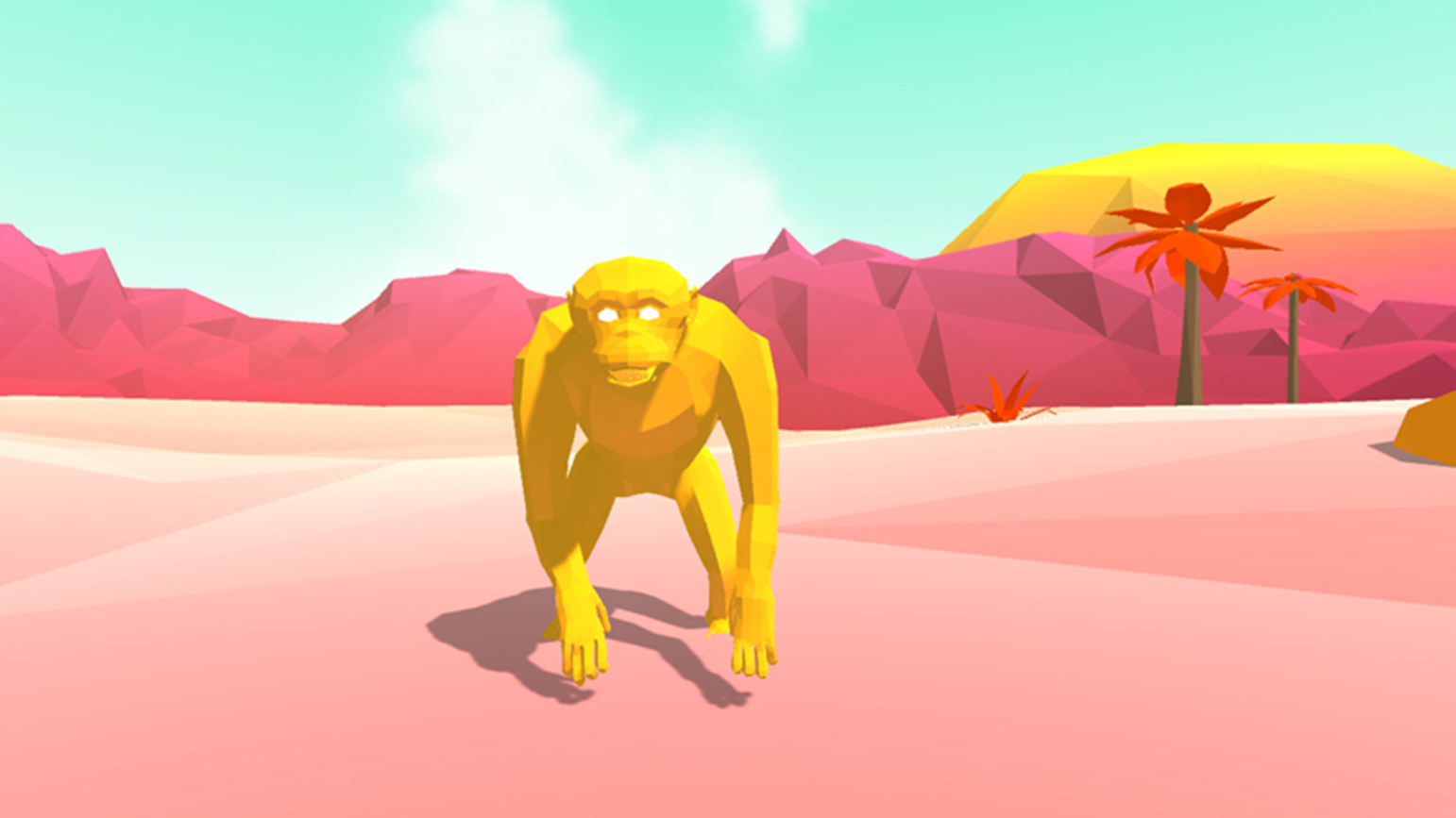 Still from a video game showing a yellow gorilla