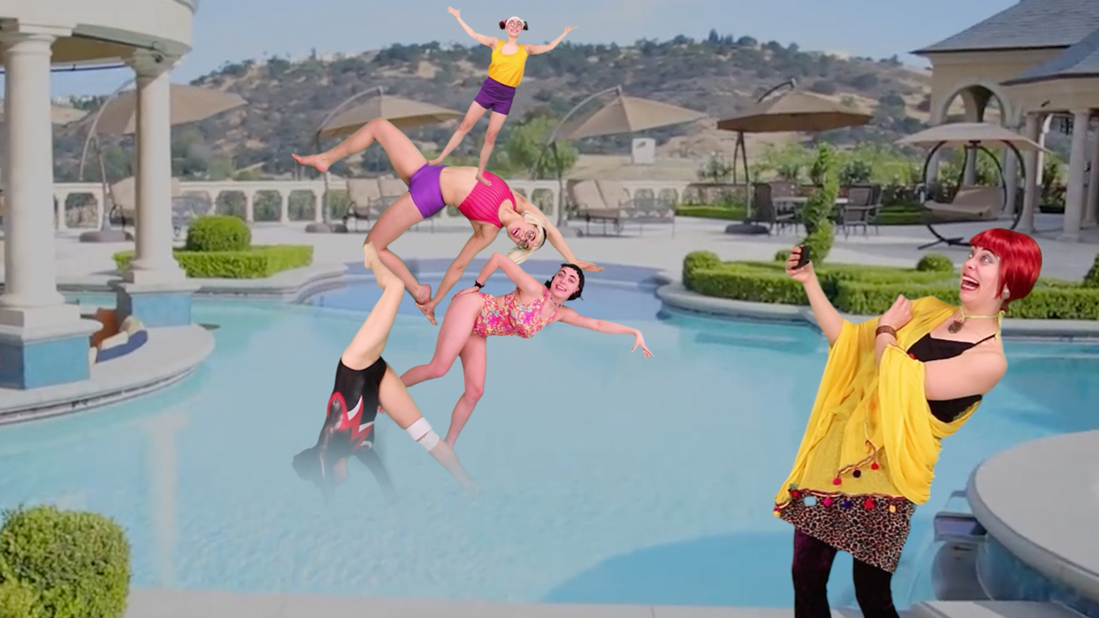 Collaged image of the same person taking a photograph in front of a pool of a group of five people performing an acrobatic move