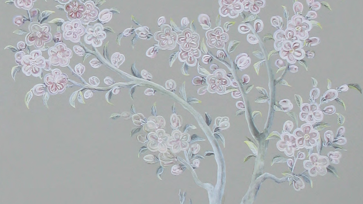 Painting of flowers against a gray background