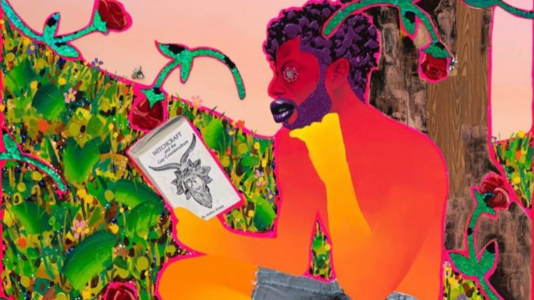 "Painting of man in red, orange, and yellow tones reading ""Witchcraft and the Gay Counterculture"""