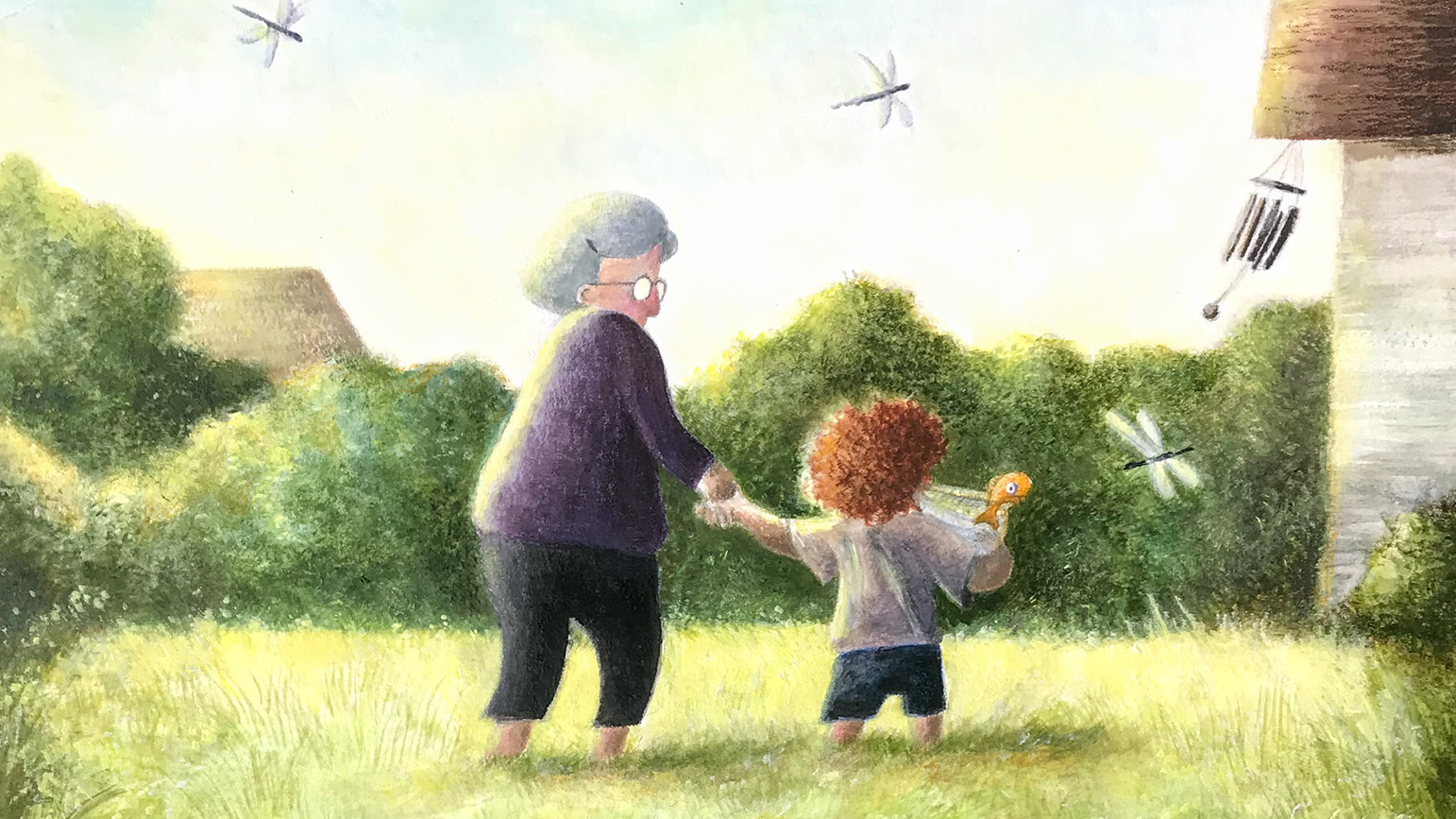 Illustration of an old woman holding the hand of a child outside with dragon flies around them