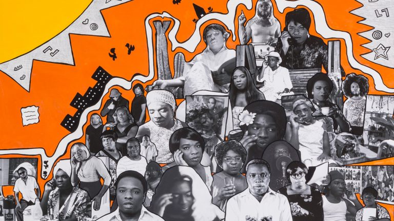 Collaged black and white photos of Kalup Linzy dressed as many different characters against a bright orange background with a yellow cartoon sun in the corner