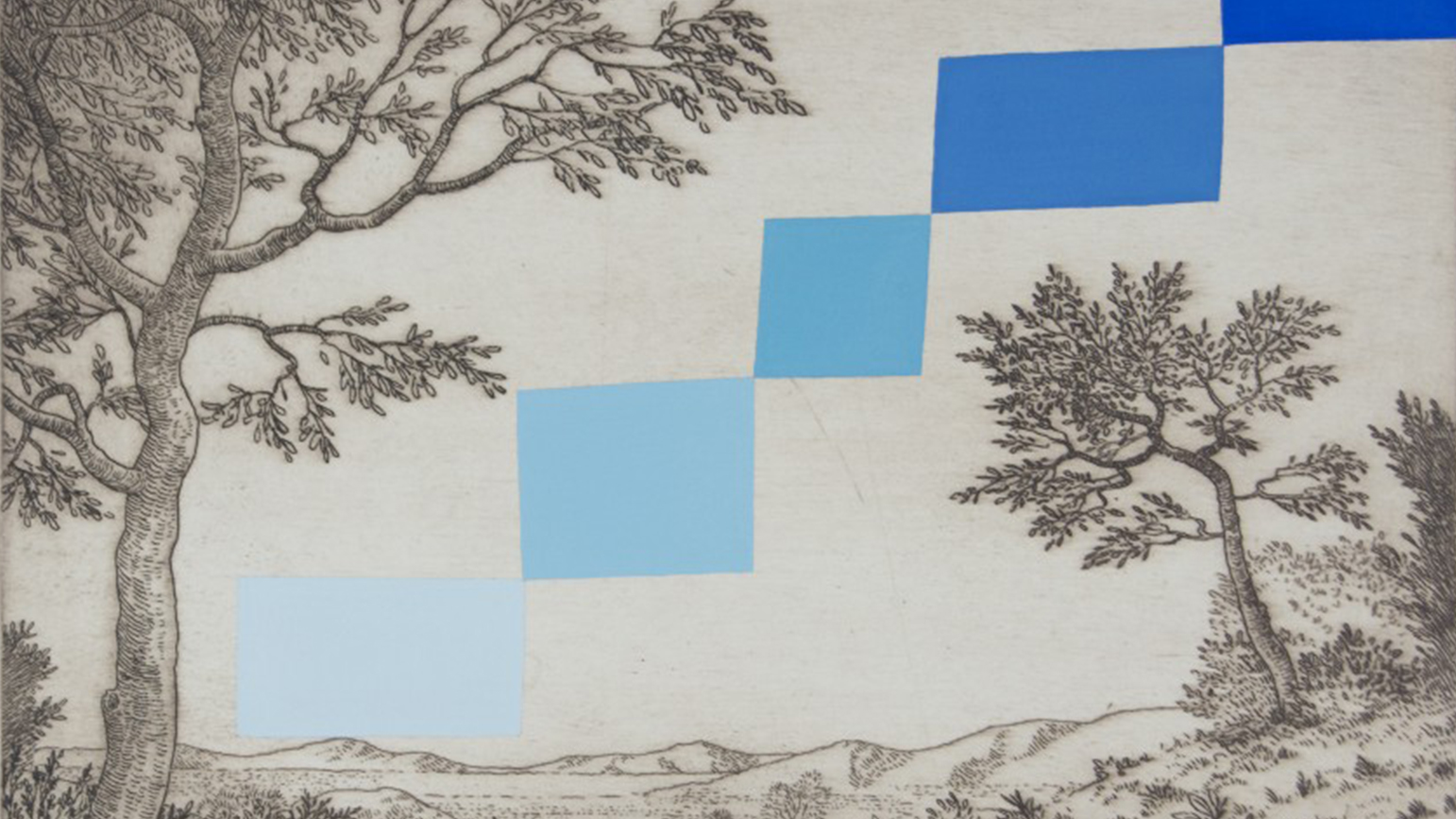Black-and-white print of a classical landscape with rectangles of varying shades of blue painted over the image in steps