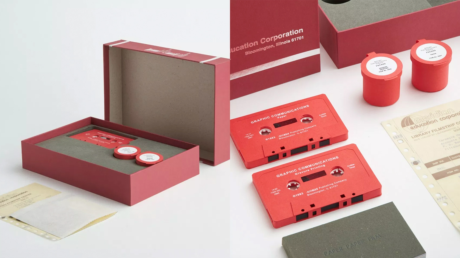 Two images of Paper Paper Film: a paper reconstruction of a red box set of with cassettes and film strips