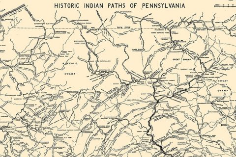Map labeled Historic Indian Paths of Pennsylvania
