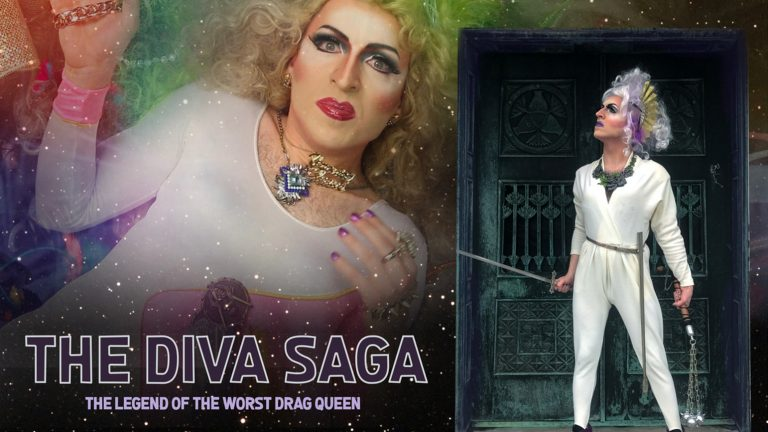 "Two images of a very serious looking drag queen with the text ""The Diva Saga / The Legend of the Worst Drag Queen"""