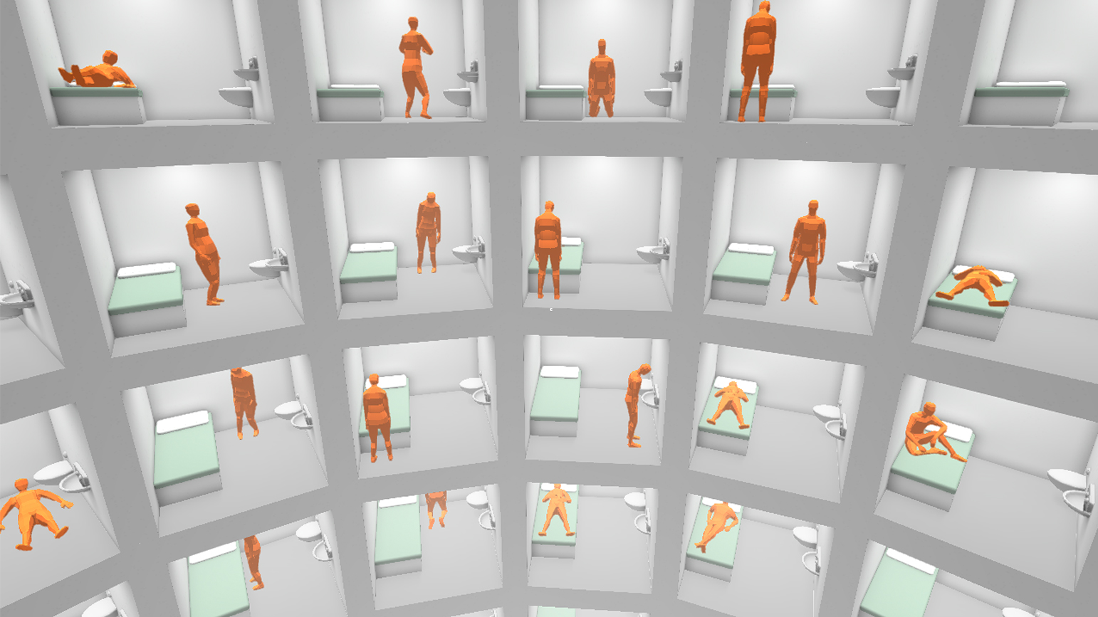 Digital image showing a grid of orange figures in a variety of positions in cells