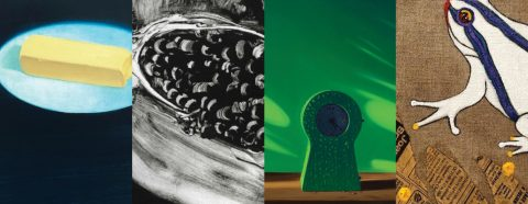 Four images: 1) painting of a stick of butter; 2) abstract black and white; 3) painting of a green clock; 4) painting of a frog
