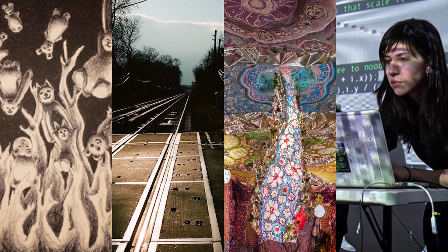 Four artworks: 1) Drawing of stuffed animals and flames; 2) Photograph of train tracks; 3) Colorful abstract work; 4) Photo of a person sitting at a laptop with a screen behind them