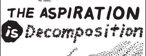 """Hand drawn words in black """"The Aspiration is Decomposition"""""""