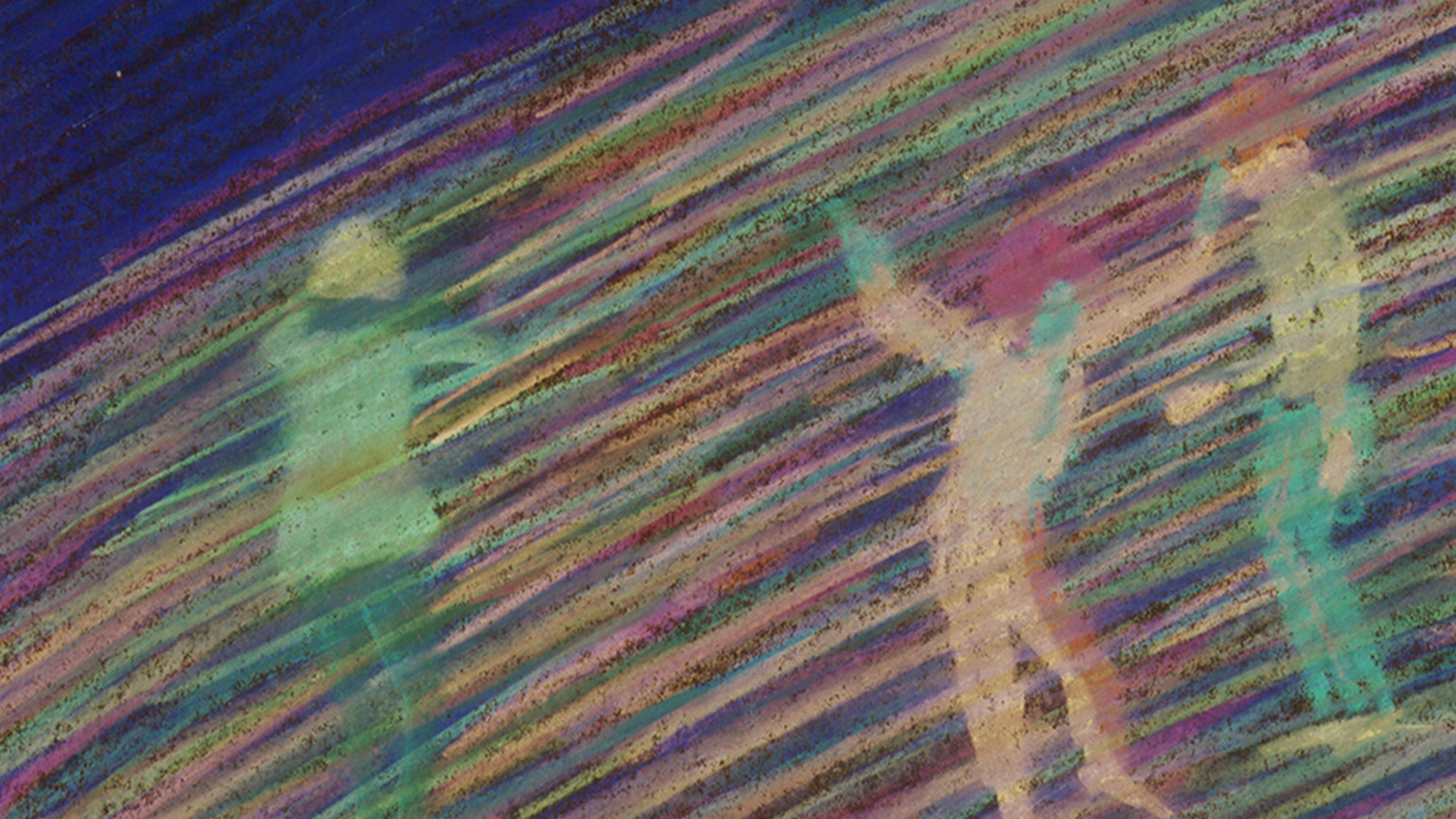 "Still from ""Tugging the Worm"" showing hand drawn figures against a streaked colorful background"