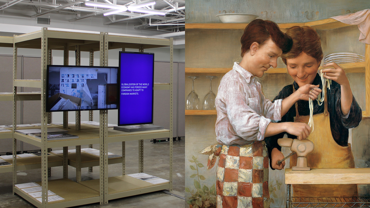 Two images - 1. metal shelving with two television screens; 2. painting of two men making pasta