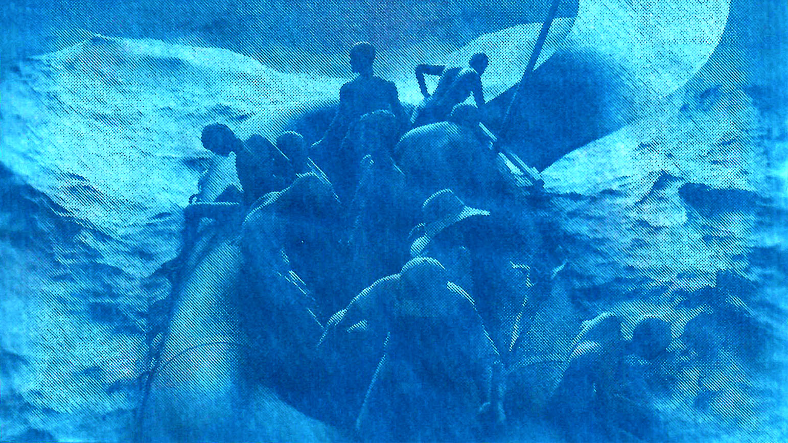 Digital image of a group of people on a life raft in a storm