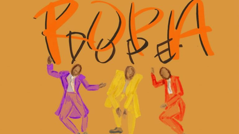 "Drawing of three figures dancing and the words ""Ropa Dope"""