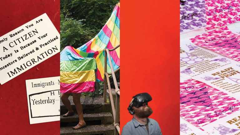 Four images: 1) two business cards against a red background; 2) two figures performing on outdoor steps under rainbow fabric; 3) Man with a VR headset looking up; 4) image of an assortment of pink and purple prints