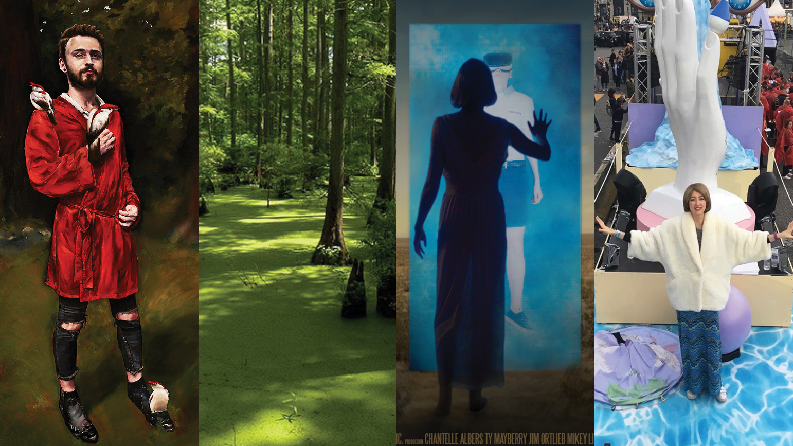 Four images: 1) painting of a young man; 2) photograph of a forest; 3) silhouette of a woman in front of a door; 4) woman on a parade float with her arms outstretched
