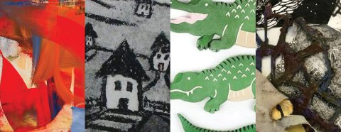 4 images: 1. abstract painting; 2. black and white simple drawing of houses; 3. photograph of alligator pins; 4. Abstract textile work