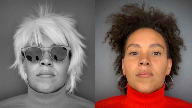 Two headshots of Alisha Wormsley, one in black and white dressed as Warhol and the other in color without costume