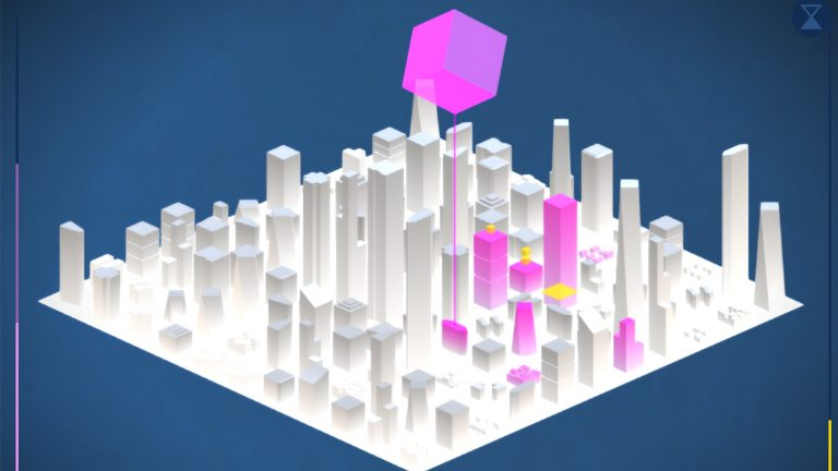 Still from video game showing simplified geometric city square of skyscrapers