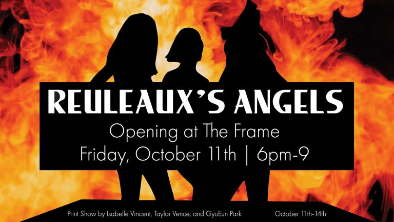 "Three silhouettes against flames with the words ""Reauleaux's Angels"" superimposed on top"
