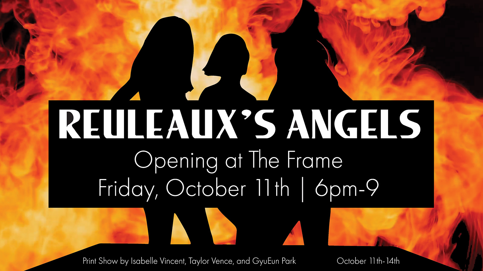 """Three silhouettes against flames with the words """"Reauleaux's Angels"""" superimposed on top"""