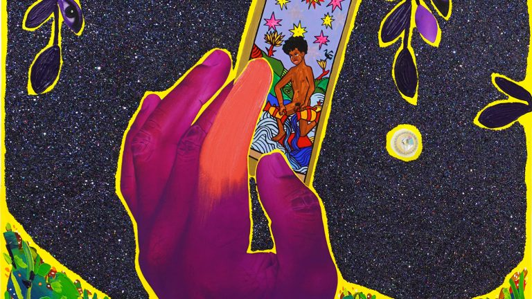 Painting of a hand holding a tarot card